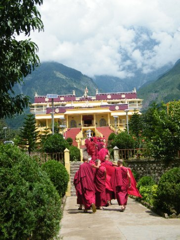 Tibetan Buddhist monks make their way to the daily puja (offering) ceremony at Gyutoe Monastery -- although it is of Gelukpa lineage, the monastery provides a home away from Sikkim for His Holiness, the Karmapa -- spiritual leader of the Kagyu lineage.