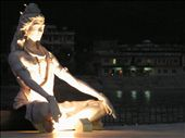 Hindu deity, Shiva, holds court over the aarti on the Ganges in Rishikesh: by ivan_miral, Views[4322]