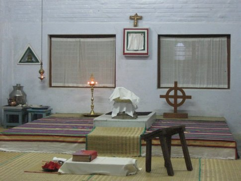 Prayer in the chapel includes ritual elements as well as readings and prayers handed down from the Syrian Orthodox liturgy, Roman Catholic Mass, and Hebrew and ancient Hindu scriptures.  This is to recognize and learn from God's revelations to all peoples across the ages.