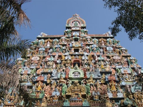 Many of the Hindu temples in South India have at least one ornate and colorful entry tower -- called a