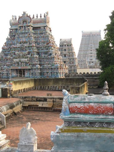 Probably the crown jewel of the Hindu temples we visited was Srirangam in Trichy. It has seven gopouram -- creating seven rings around the inner sanctum of the temple -- each ring representing an increasingly subtle level of consciousness. You can see the first three of the gopuram in this photo. Each layer also contains incredible shrines, all dedicated to Vishnu.
