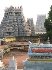 Probably the crown jewel of the Hindu temples we visited was Srirangam in Trichy. It has seven gopouram -- creating seven rings around the inner sanctum of the temple -- each ring representing an increasingly subtle level of consciousness. You can see the first three of the gopuram in this photo. Each layer also contains incredible shrines, all dedicated to Vishnu.: by ivan_miral, Views[967]