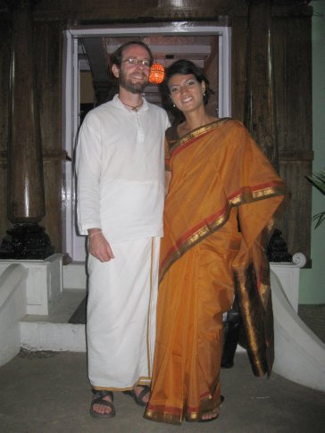 All ready to attend Midnight Mass on Christmas Eve in our traditional Christmas best -- Mi in her sari and Ive in his kurta and doti!