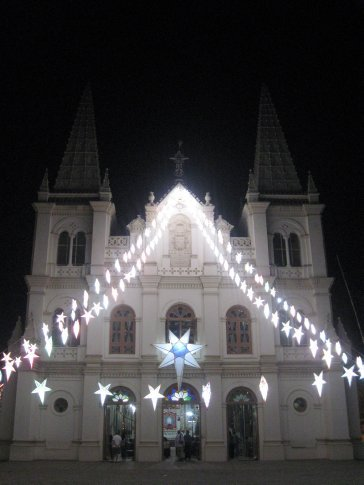 We had seen these Christmas stars all over town in Ft. Cochin -- an area with a sizable Christian community -- but they looked especially beautiful lighting the entrance to Santa Cruz Basilica where we attended Christmas Mass.