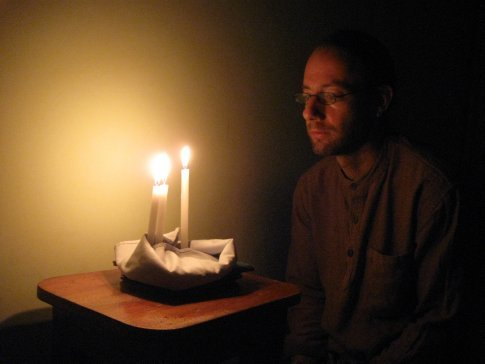 Being in India, Chanukah kind of snuck up on us -- but we gathered what we needed for a make-shift menorah and celebrated the second night of the Jewish Festival of Lights in the hilltown of Kumily.