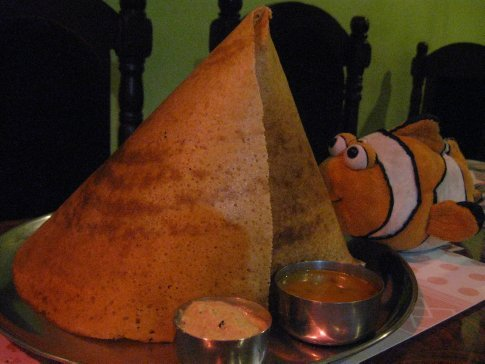 There are no Chanukah latkes (potato pancakes) here in South India, but the Dosa is a mighty fine substitute with its lentil-based crepe-like yumminess.  Despite the dosa's larger-than-life cone appearance (it wrapped around like four more times inside the cone!), Tangelo tore right into it, soaking piece by spicy piece into chilied lentil daal and coconut chutney – mmmnmn!