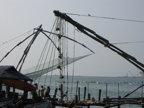 After relaxing in Varkala, we made our way north to the seaside area of Fort Cochin -- where 4-6 men work the Chinese fishing nets that put fresh seafood on every table in town.