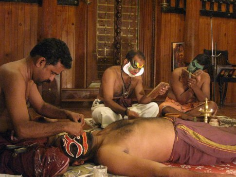 The state of Kerala is famous for Kathakali -- a highly stylized classical Indian religious dance-drama. Kathakali is known for its elaborate make-up -- they allow the audience to view its application which can take more than an hour.