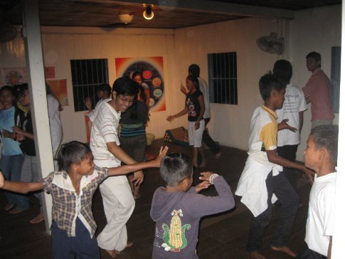 We ended the Saturday night program with some dancing -- apparently hip hop only recently hit Cambodia, but man are the kids into it.