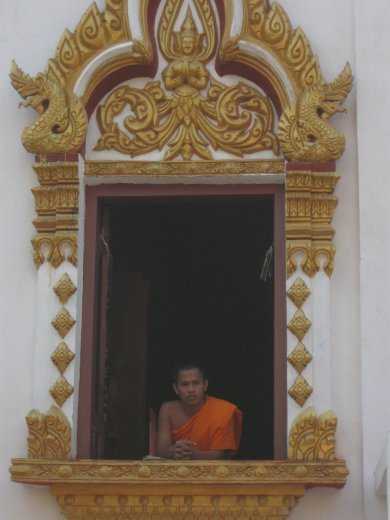 Our short stay in Pakse included some wandering in the wats (Buddhist temples), where we were greeted by the young novice monks.