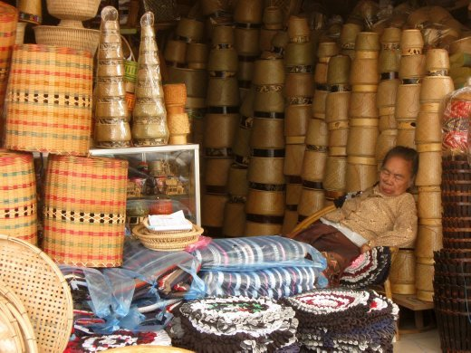 Two Laos traditions -- everything bamboo and hot-afternoon cat naps.
