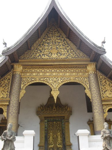 The city of Luang Prabang is a UNESCO World Heritage Site because of its Wats (Buddhist temples) -- one more stunning than the next. Here is Wat Choumkhong.