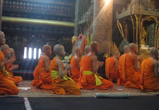 And most of Luang Prabang's wats are still active. Here the monks of Wat Xieng Thong practice their evening chants.