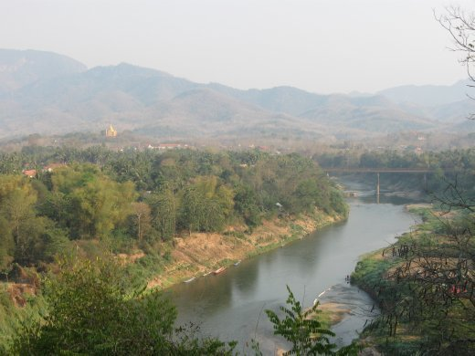 The landscape around Luang Prabang -- where the Mekong River meets the Nam Khan River.