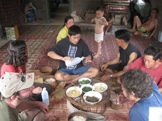 Our day in Ban Samsaath included a traditional lunch that was topped off with Lao Lao (the local moonshine) for all.
