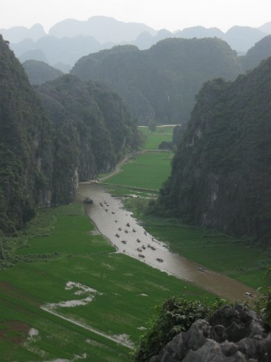 Climbing the karsts at Hang Mua gave a great view down to the boats at Tam Coc...