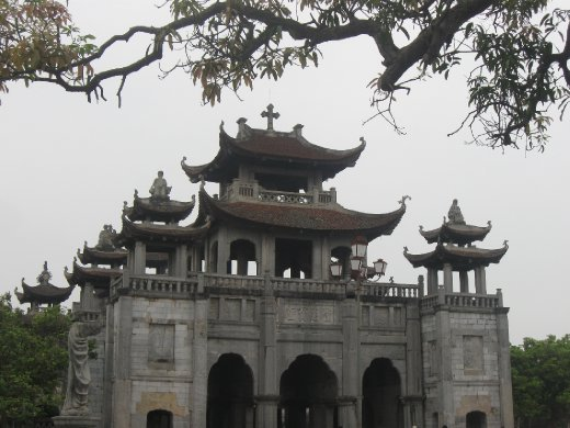 Although many churches in Vietnam are quite modern, the stone cathedral of Phat Diem merges architecture from Chinese pagodas into its sacred Christian space.