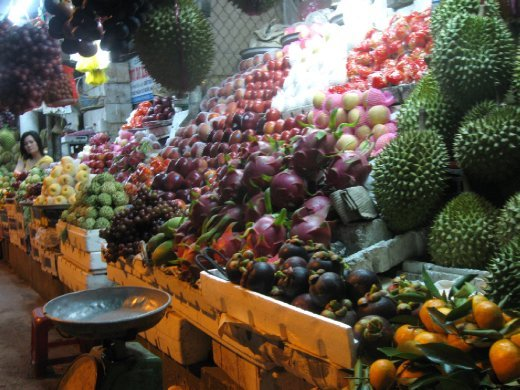 We left Saigon to check out the Mekong Delta -- the resting place of the great river before it empties into the South China Sea. First stop, the town of Ben Tre. And since the area is famous for its fruit orchards, we had to make a stop at the late night fruit market.