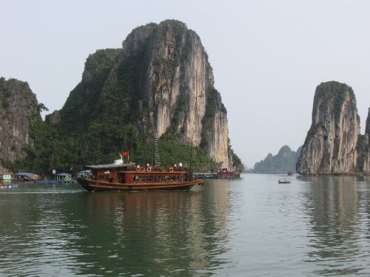 Thanks Hanoi! Next stop, one of Southeast Asia's most magical scenes -- recognized by UNESCO as a World Heritage Site -- the limestone karst towers emerging from the waters of Halong Bay.