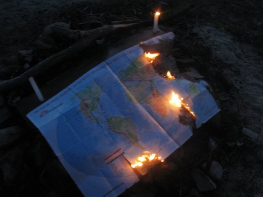 We marked the last night of the 15-month journey with a ritual burning of the map we'd been using to chart our 'round-the-world course. And with that...