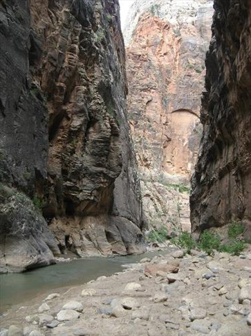 Narrow part of Zion Canyon. This walk is good fun.