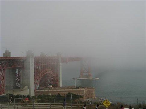 Shy Golden Gate Bridge hiding in the fog