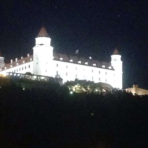 Castle at night in Bratislava