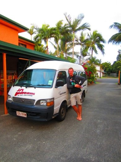 Me and the bus I've been driving for the last few months at JJ's Backpackers in Cairns