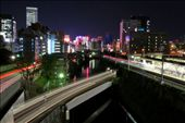 The view overlooking Suidobashi where the train systems interconnect. A Marunouchi line metro blasts out of the tunnel whilst the JR Chuo line train passes through the station. Inner city Tokyo is heavily saturated with an array of colour and lights, offering an ever changing landscape.: by jacklovel, Views[451]