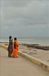 Two Indian women take in the beauty of the ocean while walking along the beach.: by jailakhani, Views[339]