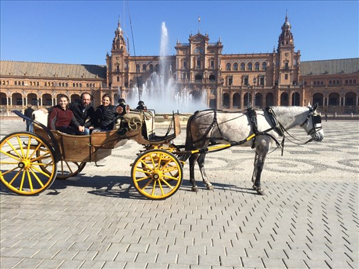A carriage ride to the Plaza de Espana (Maya is in love with the horses)