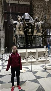 Maya in front of Columbus' raised tomb...check out Maya's new shoes: by jakemoffat, Views[336]