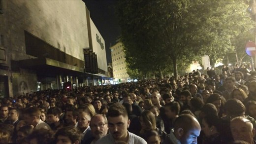 The crowd waiting to see Silencio leave the church