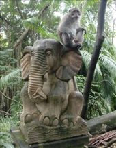 Statues come in handy when watching tourists to see if they have anything good to eat or steal. Monkey Forest, Ubud, Bali, Indonesia.: by jambopablo, Views[665]