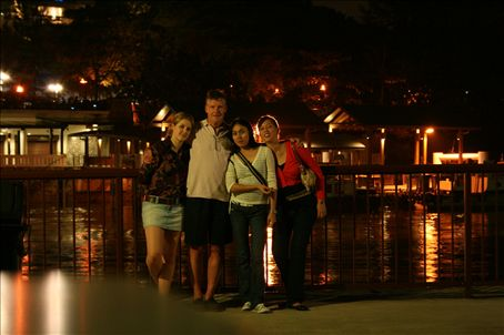 Me, Dad, Hazel and Tracy (a couple of barmaids from our local bar 'Bar Celona') at Changi Village
