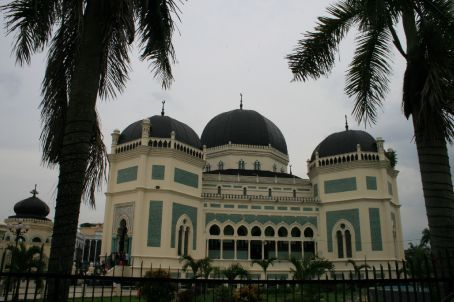 National Mosque - demonstrations going on outside as we took the photo