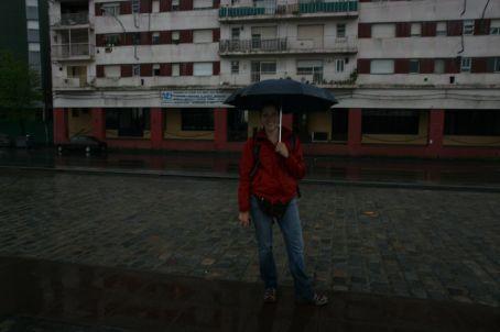 Karin, singing in the rain...