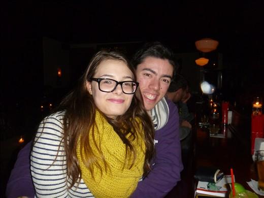Daniela and I in a bar in Brooklyn