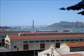 We made it! View from the heritage listed Fort Mason (otherwise known as hostelling international) over the bay and the Golden Gate Bridge. : by jarrod_dani, Views[121]