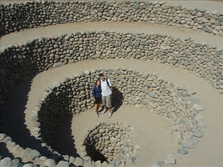 This is a picture of us at the Cantello aqueducts.  The aqueducts were built by the Nazca people for continual water supply for drinking and irrigating crops.  We are descending into a ventana (window)which was used to inspect the water and an access point when they needed to be cleaned.