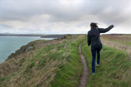 Off the Beaten Path- the hiking trail along the Pembrokeshire Coast is a narrow, winding path, flanked by rugged coastal cliffs and privately owned farming land.