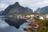The Lofoten Islands are made up of many small fishing villages such as Reine here, nestled between lofty mountains that rise dramatically out of the Northern Sea.  Simple fishing cabins (rorbuer) are built over the water to make use of limited space and fit in with a lifestyle centered around the sea. : by jbatryn, Views[257]