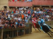 The winner on the Onda (Wave) horse rounds the bend, bareback and hanging on tight. A scary sight when you are viewing from the stands and showered in dust and dirt from the track as they pass.: by jcaptured, Views[254]