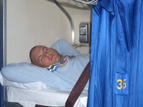 Sleeping on the train to Surat Thani