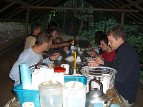 Dinner time at the river camp.