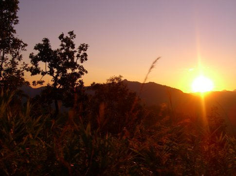 The sunset coming over the mountains from Mae Hong Son.