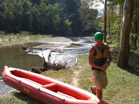 Getting ready to kayak down the Kong River.
