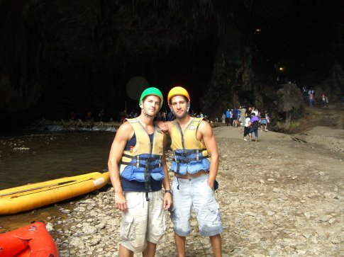 After kayaking through the cave.