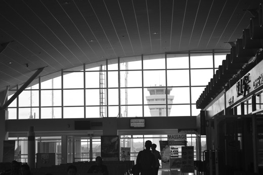 I find that capturing airport architecture is best in black and white.