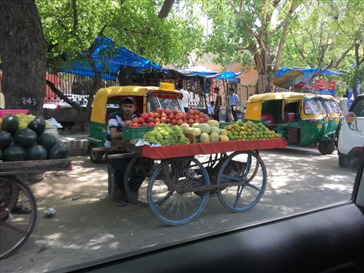 Fairly typical Delhi fruit cart